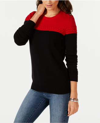 Charter Club Petite Colorblocked Mixed-Knit Sweater