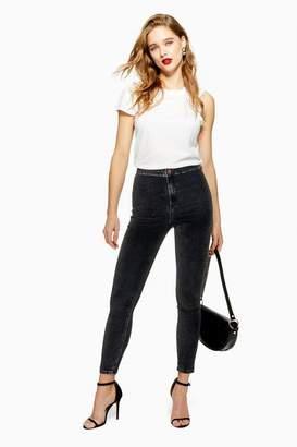 Topshop Womens Velvet Washed Black Joni Jeans