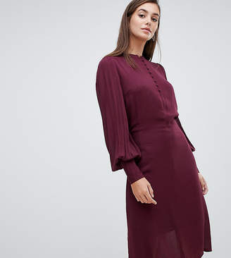 Y.A.S Tall balloon sleeve textured tie waist midi dress in burgundy