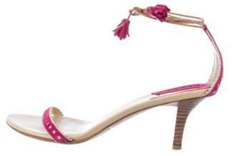 Burberry Suede Wrap-Around Sandals Magenta Suede Wrap-Around Sandals