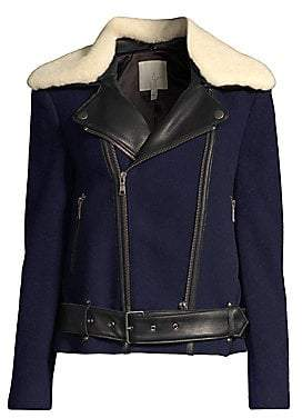 Joie Women's Fayana Mixed Media Faux Fur Collar Moto Jacket