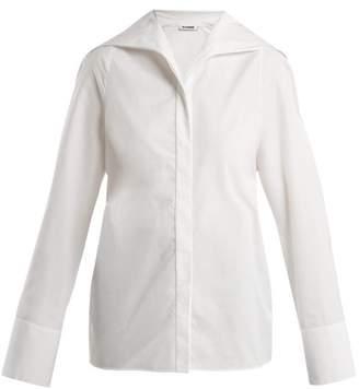 Jil Sander Sailor Collar Cotton Poplin Shirt - Womens - White