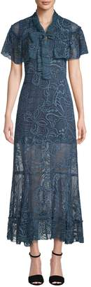 Anna Sui Women's Two-Tone Embroidered Butterfly Crinkle Dress