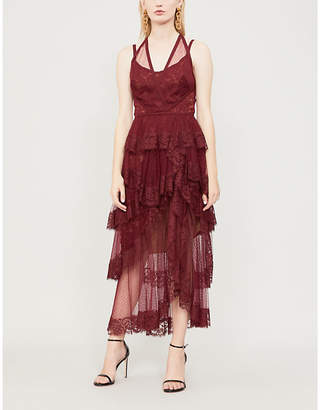 Elie Saab Halterneck ruffled lace and mesh dress