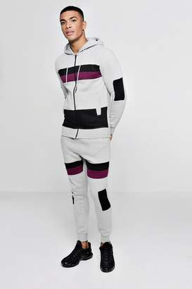 boohoo Zip Through Tracksuit With Contrast Panels