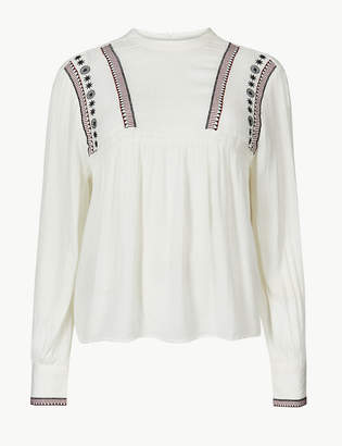 Marks and Spencer Embroidered High Neck Long Sleeve Blouse