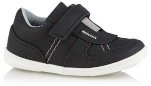 George First Walkers Black 1 Strap Trainers