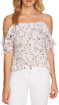 CeCe Cold-Shoulder Floral Blouse