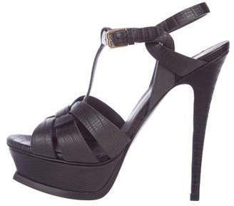Saint Laurent Embossed Leather Tribute Sandals