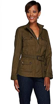 G.I.L.I. Got It Love It G.I.L.I. Zip Front Belted Nylon Jacket with Pocket Detail