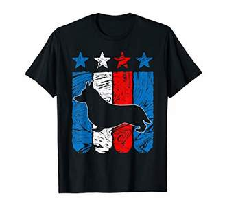 Corgi Welsh Dog USA American Flag 4th of July T Shirt Gift