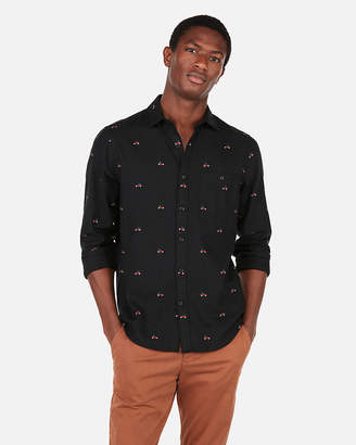 Express Slim Truck Print Flannel Shirt