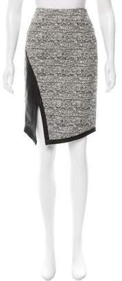 Marissa Webb Leather-Paneled Tweed Skirt