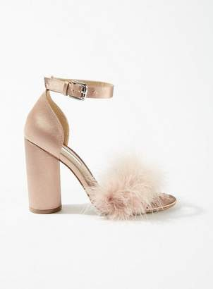 939a52f89e5 at Miss Selfridge · Miss Selfridge Hennie feather block heel sandals