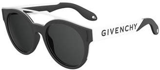 Givenchy Stainless Steel & Rubber Round Logo Sunglasses $395 thestylecure.com