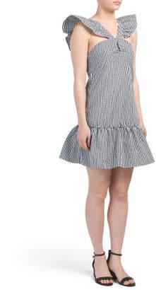 Juniors Ruffle Hem Gingham Dress