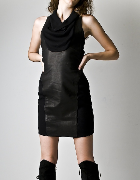 Helmut Lang Black Knit And Leather Dress