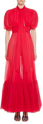 Giambattista Valli Tie-Neck Tiered-Hem Silk Gown