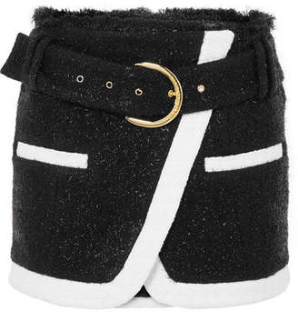Balmain Wrap-effect Metallic Wool-blend Bouclé Mini Skirt - Black