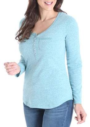 Lee Women's Henley Knit Top with Lace Trim Pocket