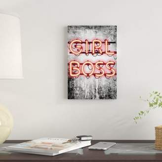 East Urban Home 'Girl Boss Neon Sign' Print on Canvas