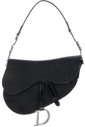 Christian Dior Patent Leather-Trimmed Saddle Bag