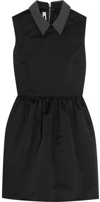 McQ Alexander McQueen - Studded Satin Mini Dress - Black $895 thestylecure.com