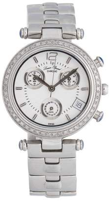 Lucien Piccard 27057WHD Chronograph Stainless Steel Diamond Bezel 32mm x 9mm Watch