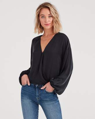 7 For All Mankind Wrap Front Woven Top in Jet Black