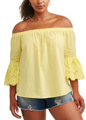 No Comment Women's Plus Size Off Shoulder Top with Sleeve Trim