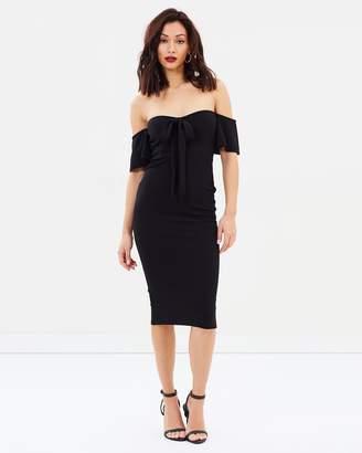 Missguided Bardot Tie Front Midi Dress