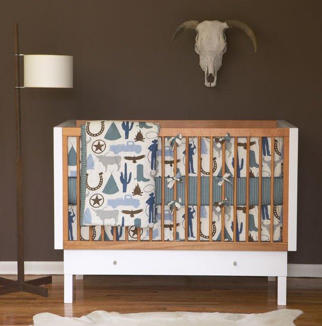 DwellStudio Baby Crib Bedding - Cowboy in dusk