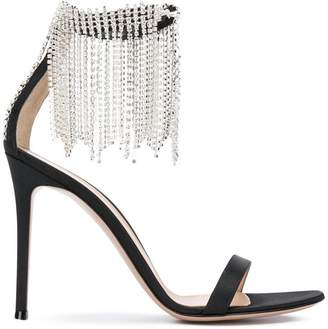 Gianvito Rossi crystal fringe trim ankle strap sandals