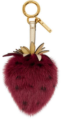 Fendi Red Mink Strawberry Keychain