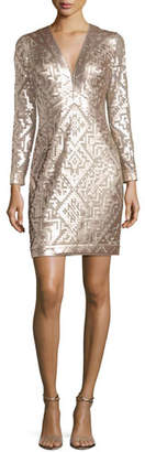 Tadashi Shoji Long-Sleeve Sequin Grid Sheath Dress, Ginseng/Natural