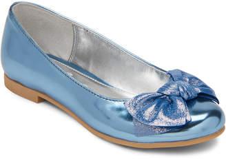 Nina Kids Girls) Blue Kaytelyn Metallic Bow Ballet Flats