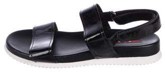 Prada Sport Patent Leather Flat Sandals