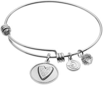 "Love This Life love this life Crystal ""Girlfriends"" Heart Charm Bangle Bracelet"