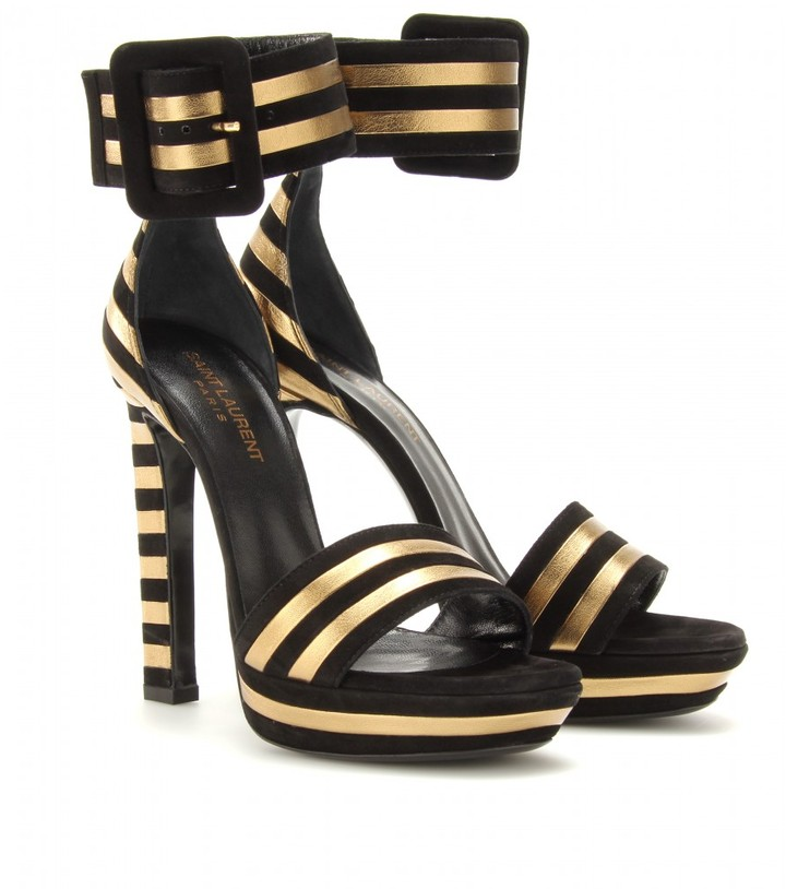 Saint Laurent PALOMA SUEDE AND METALLIC LEATHER STRIPED SANDALS