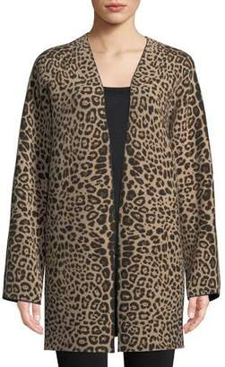 Neiman Marcus Leopard-Print Cashmere Open-Front Cardigan