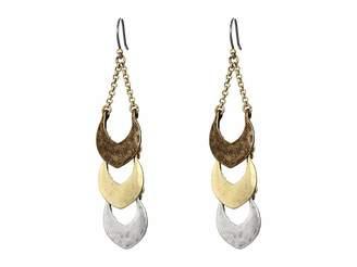 Lucky Brand Tri-Tone Linear Dangle Earrings