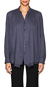 Pas De Calais Women's Plissé Cotton Voile Blouse - Blue