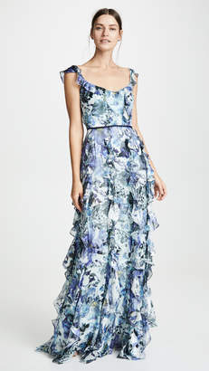 Marchesa Sleeveless Printed Burnout Silk Gown
