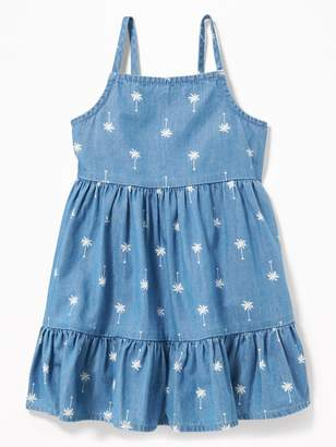 Old Navy Palm-Print Tiered Cami Chambray Dress for Baby