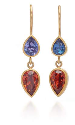 Mallary Marks Bon Bon 18K Gold Sapphire and Garnet Earrings