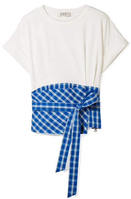 Sea Obi Paneled Gingham Crepe And Cotton-jersey T-shirt - Blue