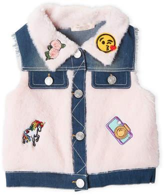 Baby Sara Girls 4-6x) Faux Fur Patchy Denim Vest
