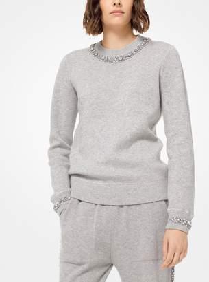 Michael Kors Crystal Embellished Cashmere-Blend Pullover