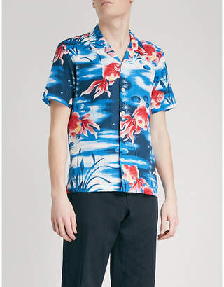 Sandro Goldfish-print regular-fit cotton shirt