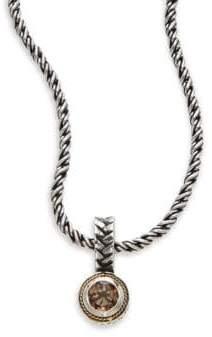 Effy Smoky Quartz, Sterling Silver & 18K Yellow Gold Pendant Necklace